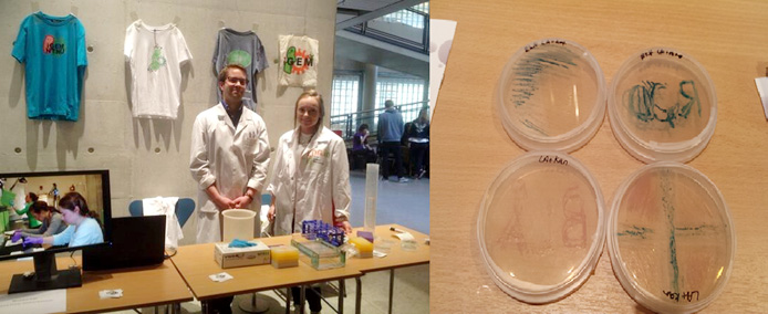 "Picture 2. Right picture: ""Open day""-stand of the NTNU iGEM team with activities such as pipetting loading dye onto an agarose gel. From the left: Eivind Bøe Drejer and Silje Maurset. Left picture: We had prepared agar plated with various creative images of red, white and blue bacteria at the stand."