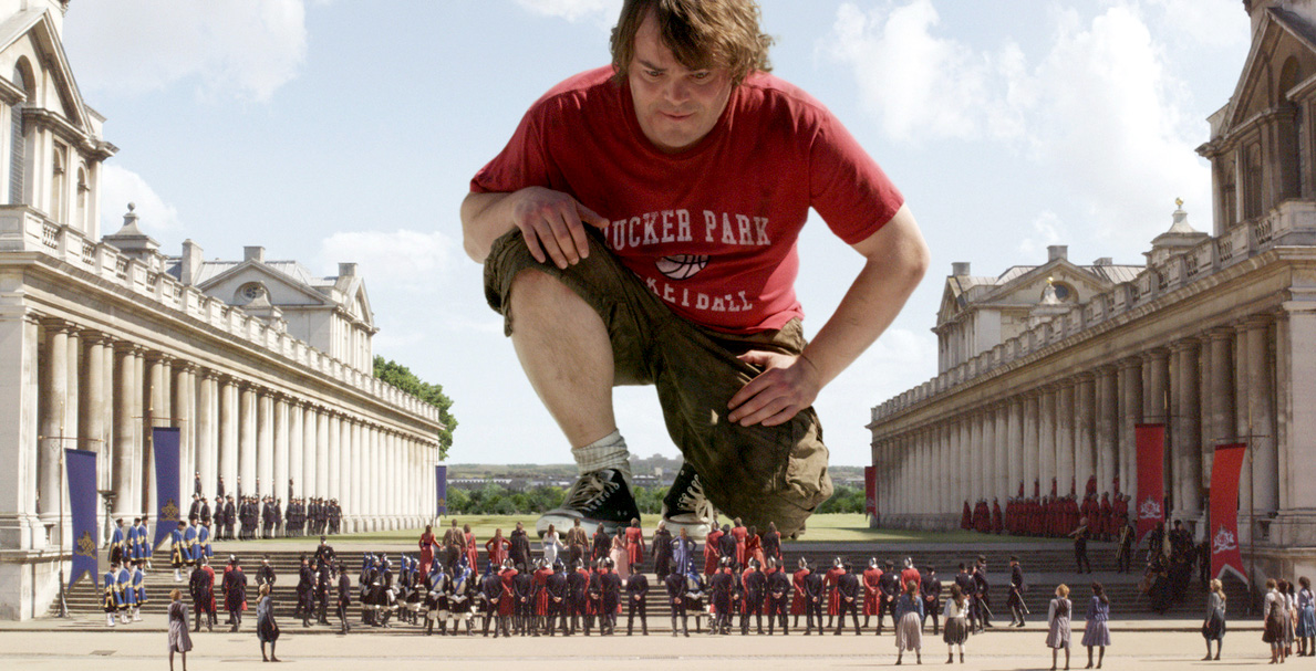 Photo from 20th Century Fox. Gulliver's travels from 2010, with Jack Black in the leading role, here in Lilliput-land.