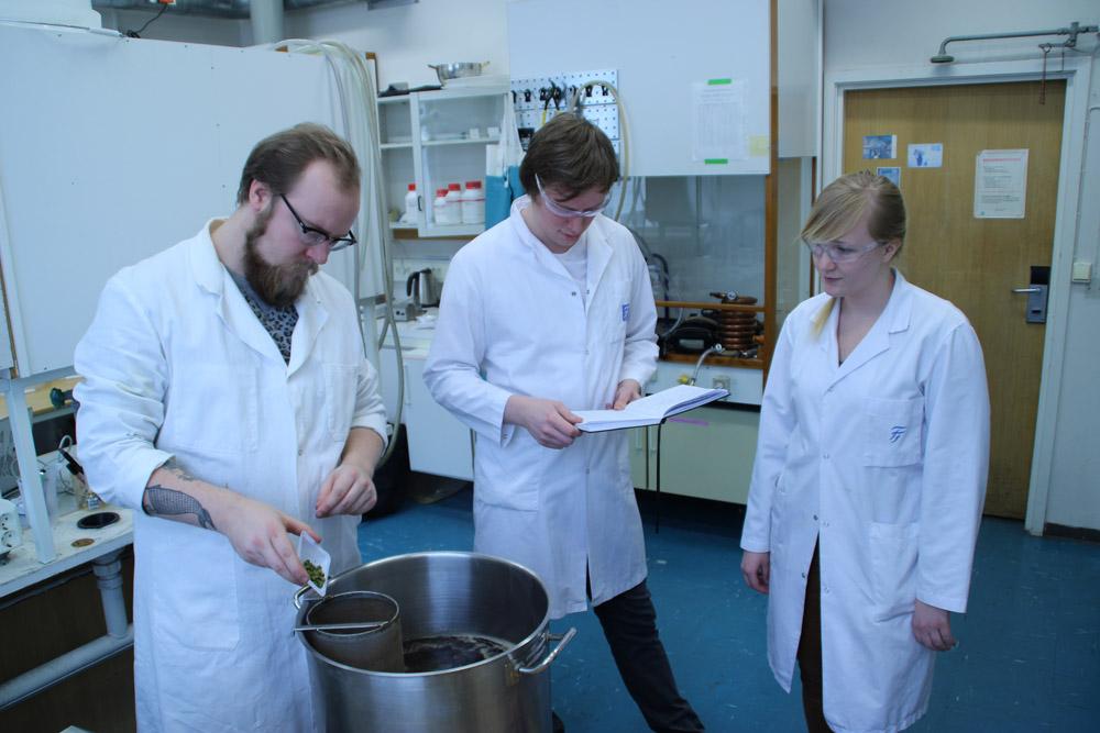 Student Martin Borud tilsetter humle til kokende vørter, mens doktorgradsstipendiat Magnus Hattrem og student Eirin Korvald studerer temperaturprofiler av meskingen. Foto: Institutt for bioteknologi / NTNU