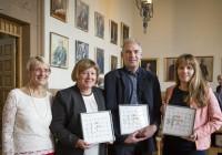 Fakultetets dekan, Anne Borg, sammen med lederne for de tre SFI-ene NT-fakultetet er vertsskap for: Aud Wærnes, Sigurd Skogestad og Hilde Venvik. Foto: Thor Nielsen.