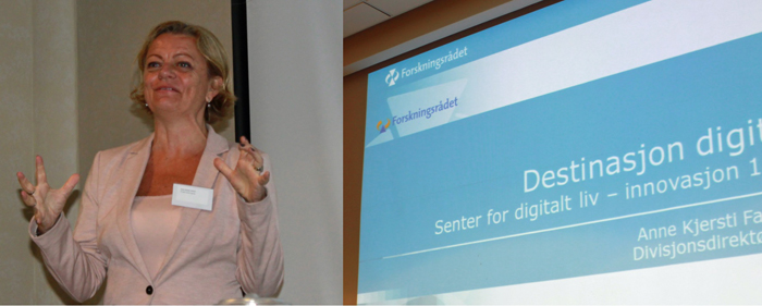 Divisjonsdirektør for innovasjon i Forskningsrådet, Anne Kjersti Fahlvik delte sine refleksjoner rundt den store satsingen Digitalt Liv.